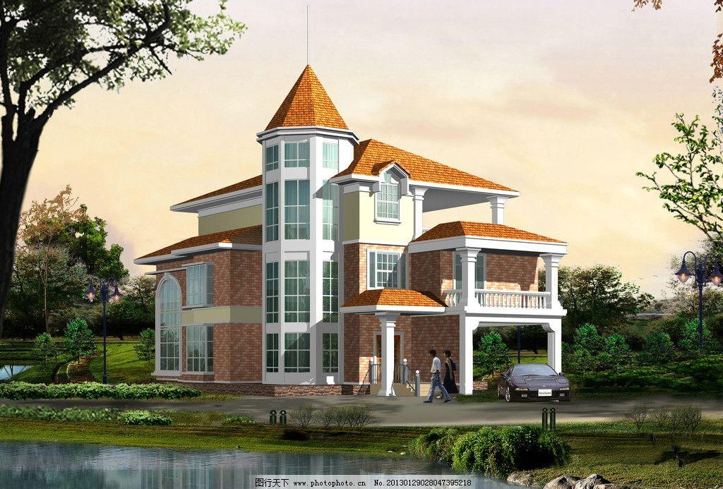别墅效果图 建筑效果图 住宅 房屋 小高层 鸟瞰图 透视图 别墅透视图