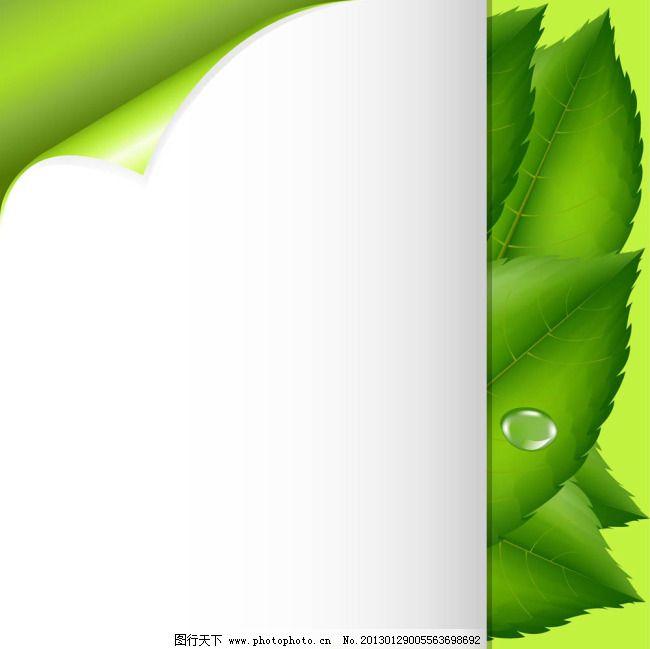 矢量纸张绿叶背景素材免费下载