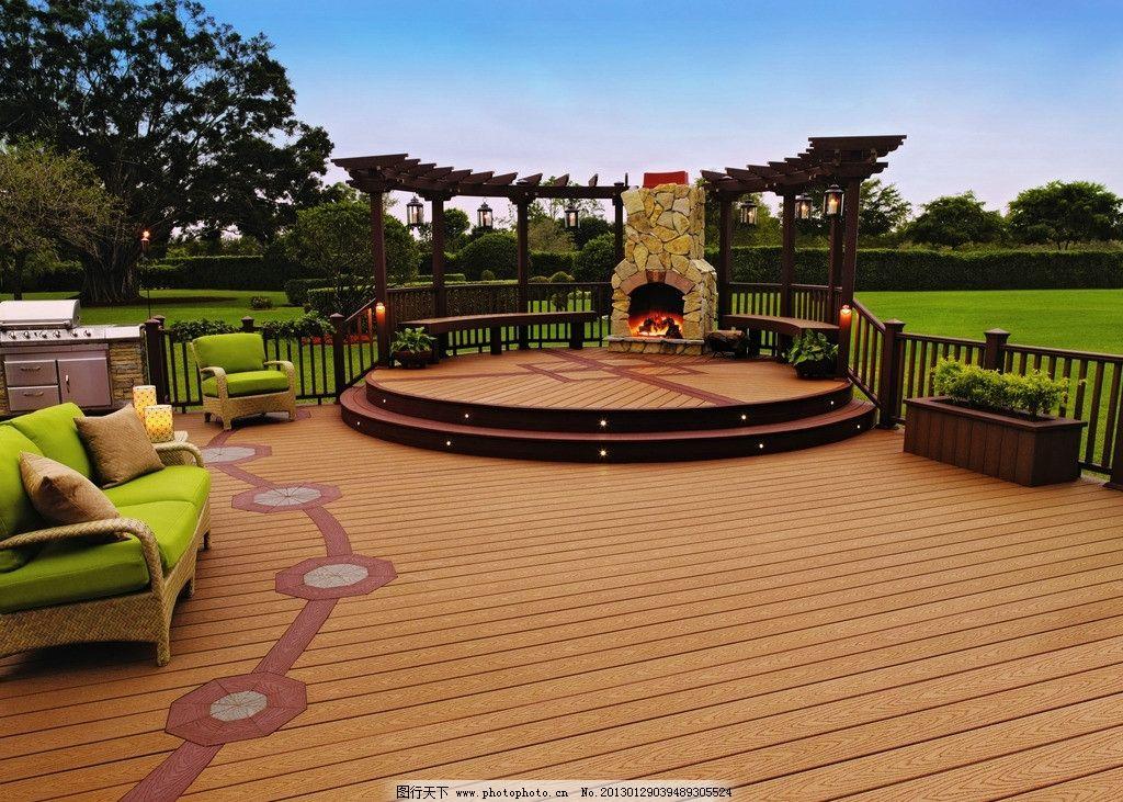 户外庭院造型 户外 露台 景观 湖边 防腐木 别墅 桌椅 集成材 庭院 房