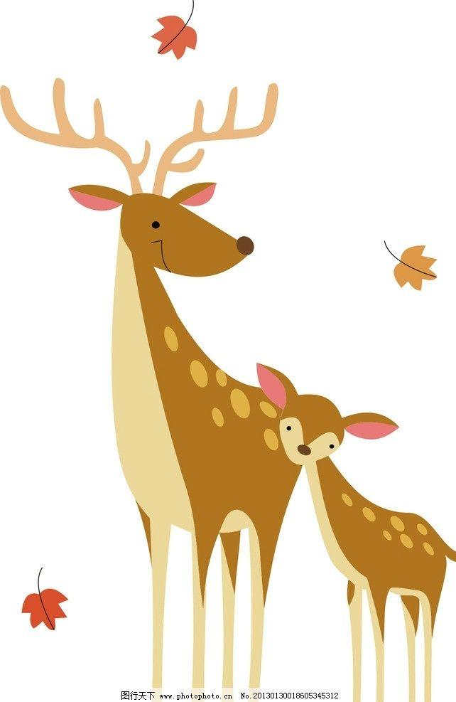 长颈鹿图片,温馨 母爱 卡通 动物 落叶 动漫动画-图行