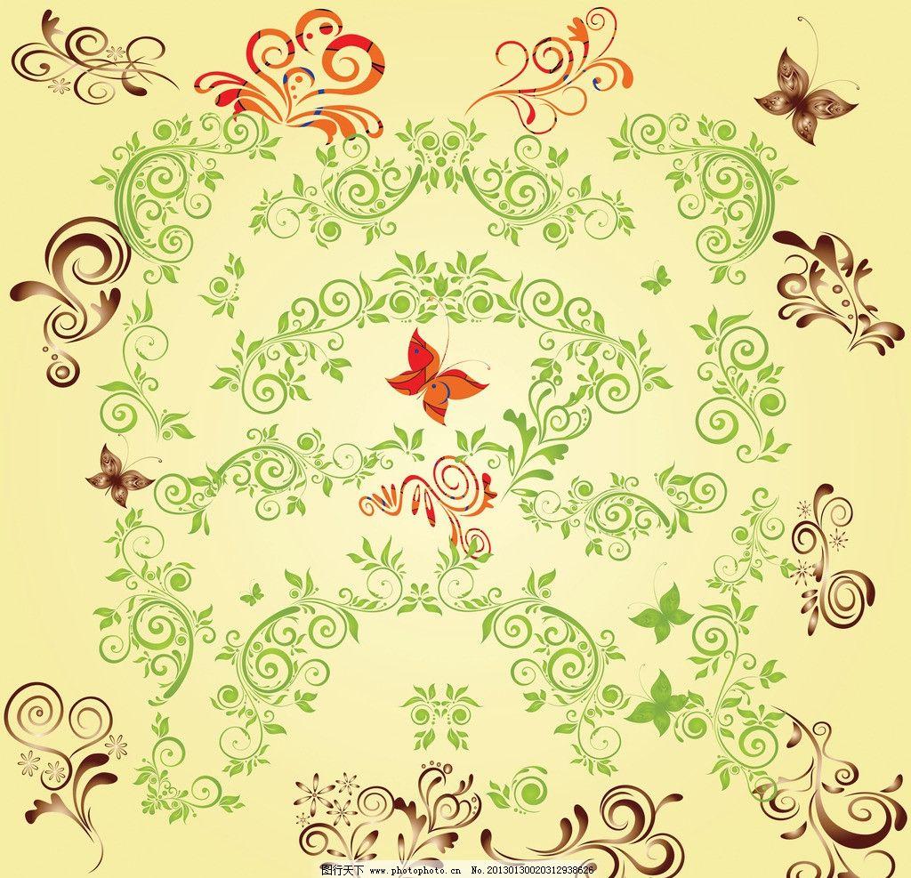 绿色的花边 欧式花纹 欧式边纹 金色纹样 花纹样式 花边设计 花纹背景