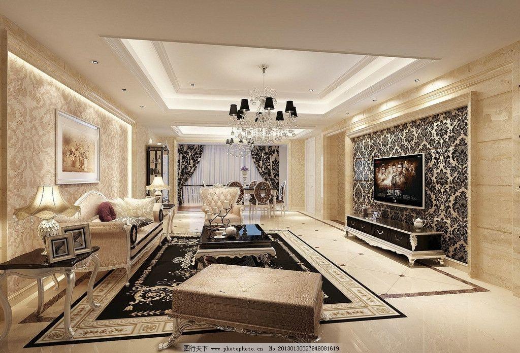 欧式客厅 风格 电视墙 沙发 背景墙