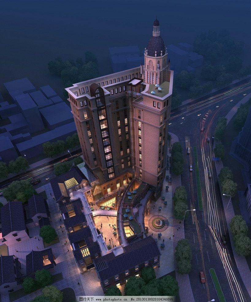 夜景鸟瞰 建筑 裙房 灯光 欧式 建筑效果图