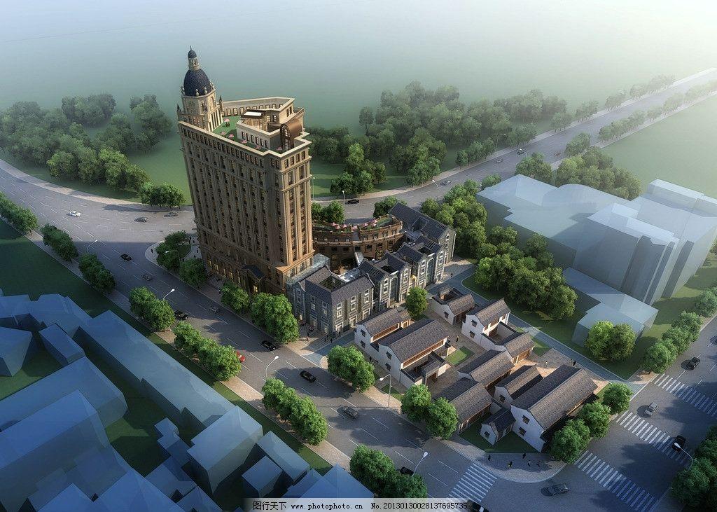 白天鸟瞰 建筑        白天 远景 鸟瞰 欧式建筑 建筑效果图 景观设计