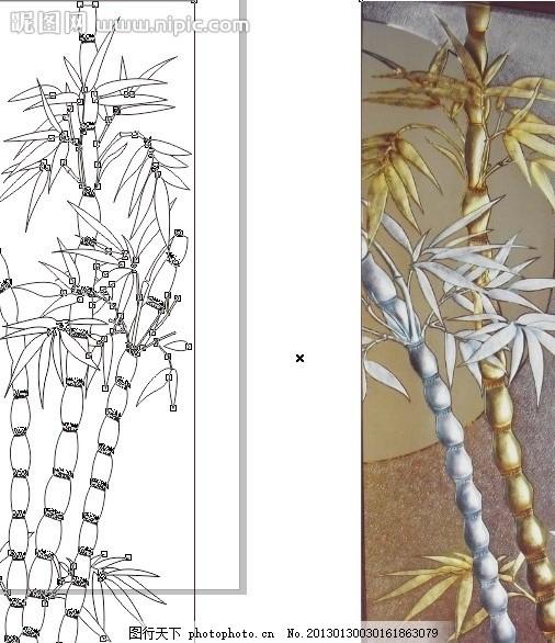 竹子 竹叶 艺术玻璃 深雕上色 雕刻 雕花 刻花 刻绘 移门图案 广告