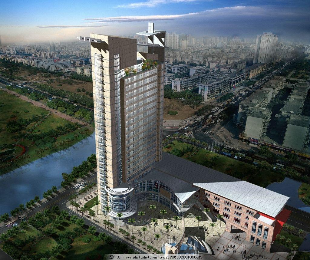 电子公司效果图 黄昏鸟瞰 建筑效果图 电子效果图方案设计 底商 城市