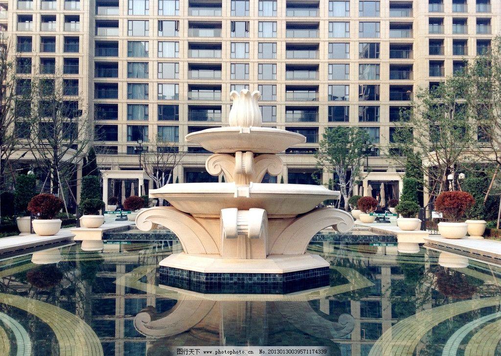 欧式 水阀 喷泉 雕塑 大理石 小区景观 园林建筑 建筑园林 摄影 72dpi