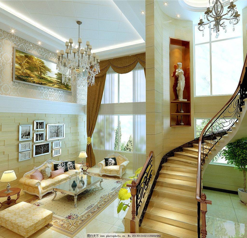 别墅客厅效果图 复式楼             楼梯 沙发 背景墙 3d设计 设计图片