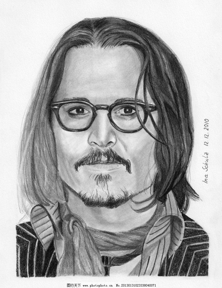 素描人像 戴眼镜的男青年