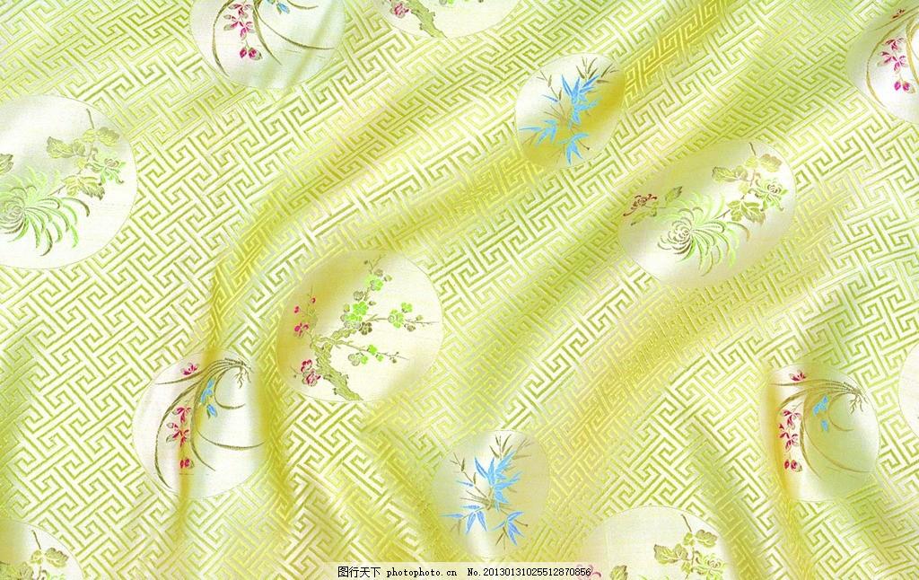 黄色丝绸 黄色绸缎 刺绣 绸缎 丝绸 布料 花纹 中国元素 绸缎背景