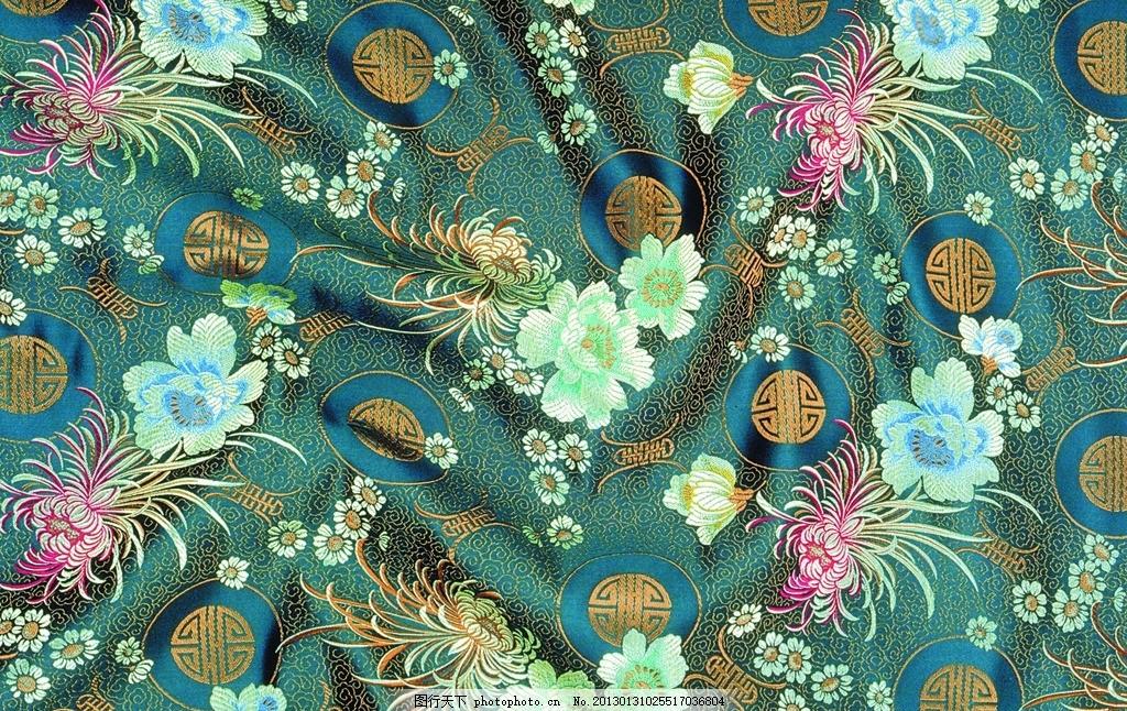 花纹刺绣 蓝色丝绸 丝绸布纹 丝绸 褶皱 吉祥布纹 绸缎 绸缎丝滑 布料