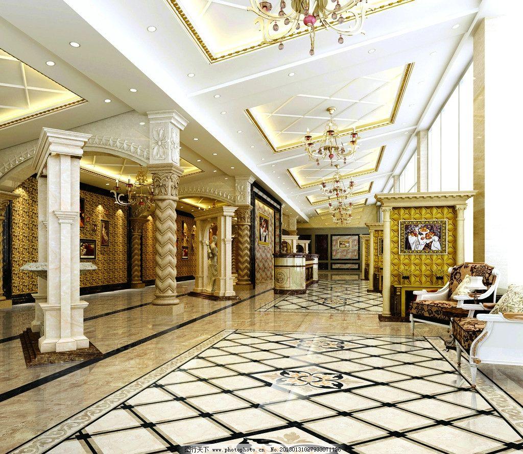 酒店大堂过道 大堂 酒店大厅 欧式 室内设计 空间设计 瓷砖铺贴效果图