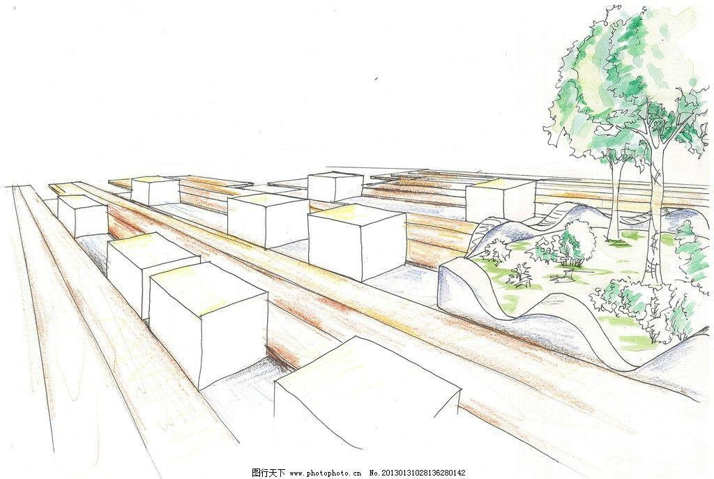 景观手绘设计 地面铺装 小品 座登 路沿石 景观设计 环境设计 设计