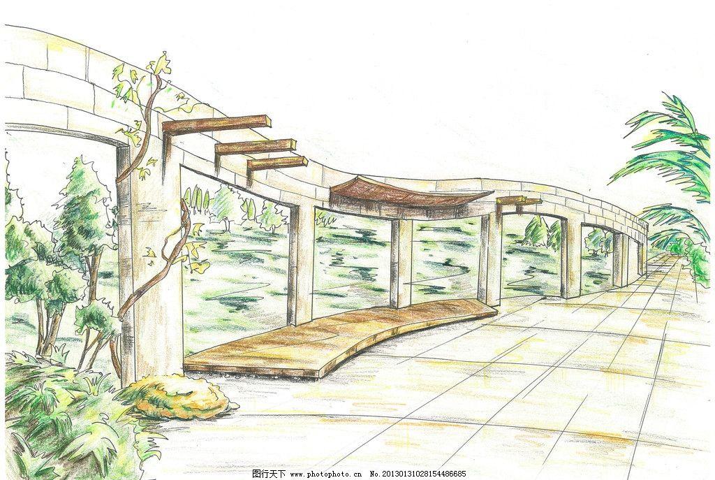 景观手绘 廊架 花架 地面铺装 彩铅手绘 景观设计