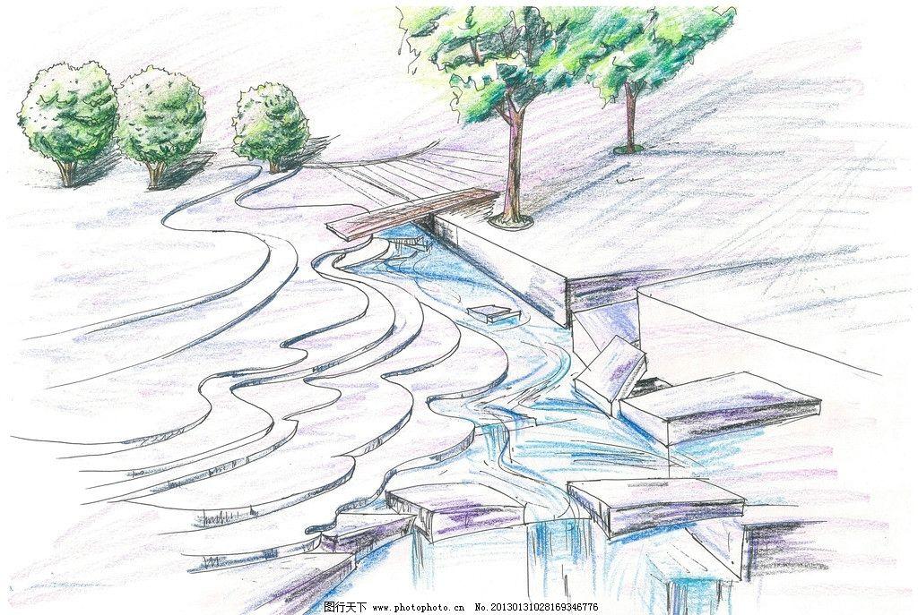 景观手绘 叠水 小桥 道路铺设 水景 景观设计 环境设计 设计 300dpi