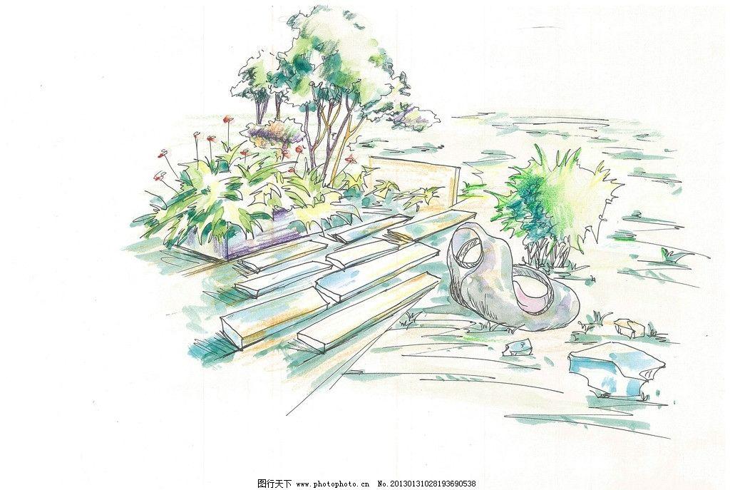 景观手绘 花卉 灌木 草坪 景观小品 地面铺装