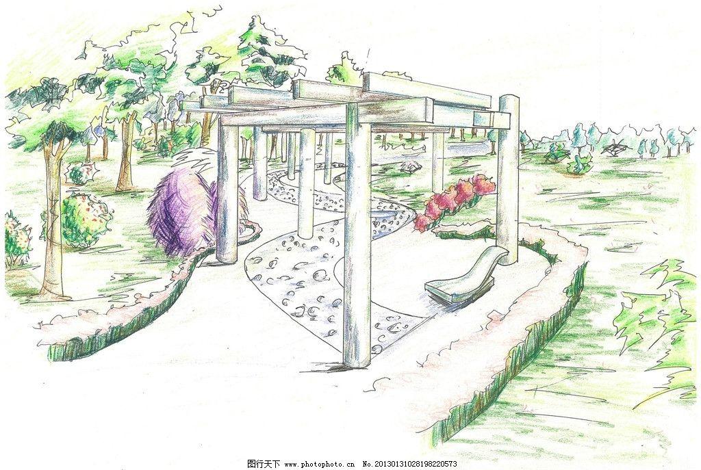 景观手绘 彩色铅笔 植物