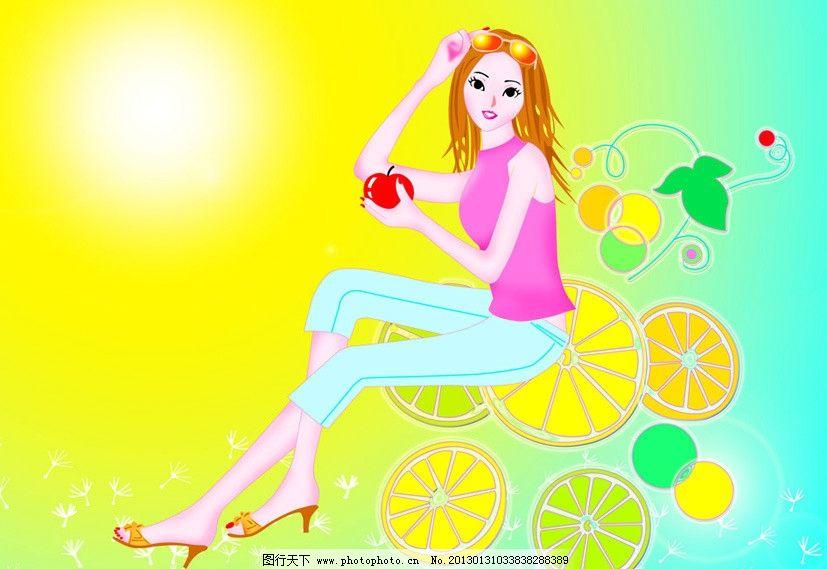 卡通女孩 苹果女孩