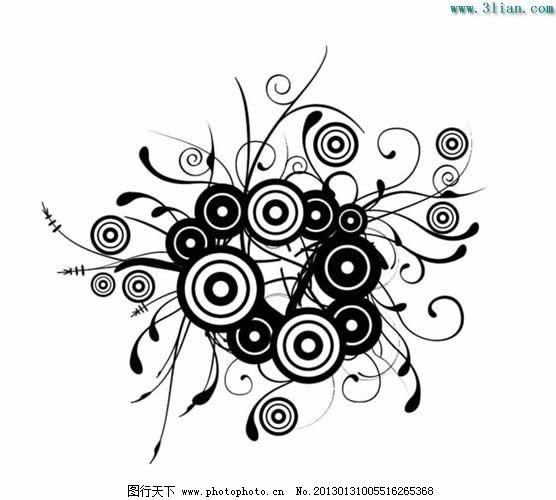 黑白线纹花纹免费下载