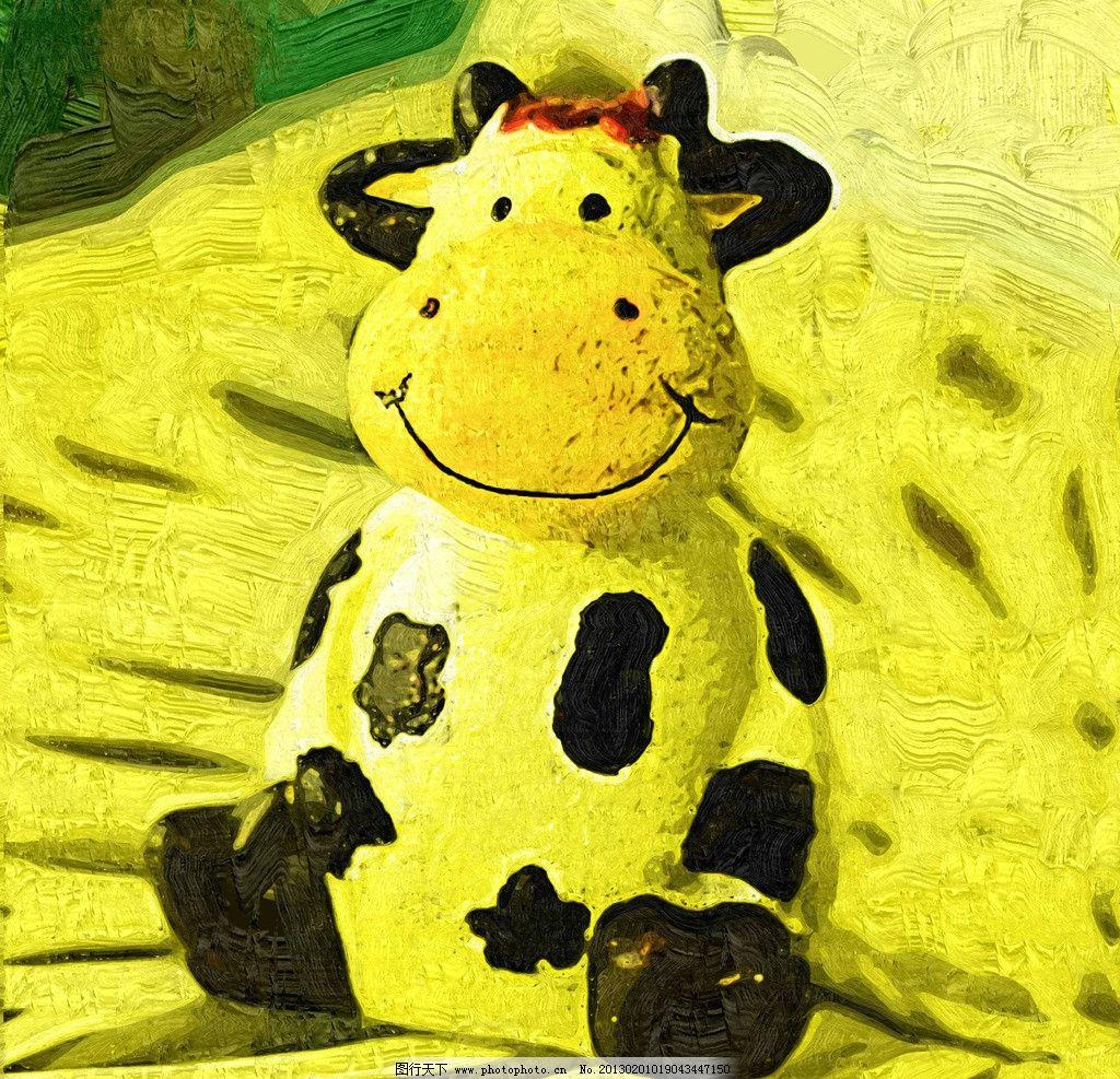 手绘t恤衫小牛简单图案