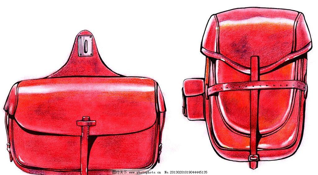 工业设计手绘淡彩草图 马克笔 周波 色粉 快题 皮质 背包 绘画书法