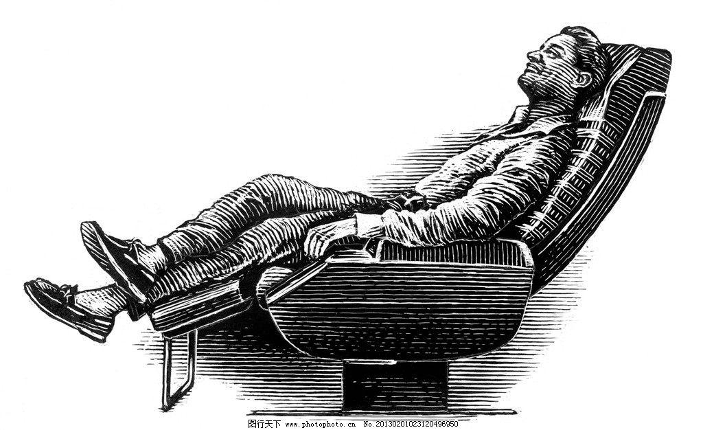 手绘躺着的人图片