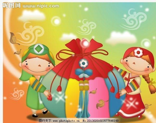 韩国 儿童 喜庆 礼物 节日 儿童插画 梦幻 可爱 快乐 开心 卡通儿童图片