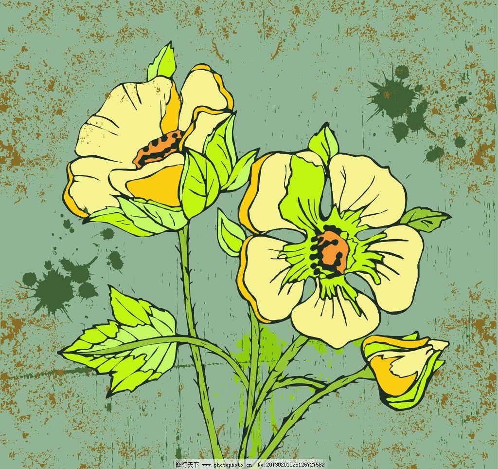 花朵 手绘 绿色 背景 斑驳
