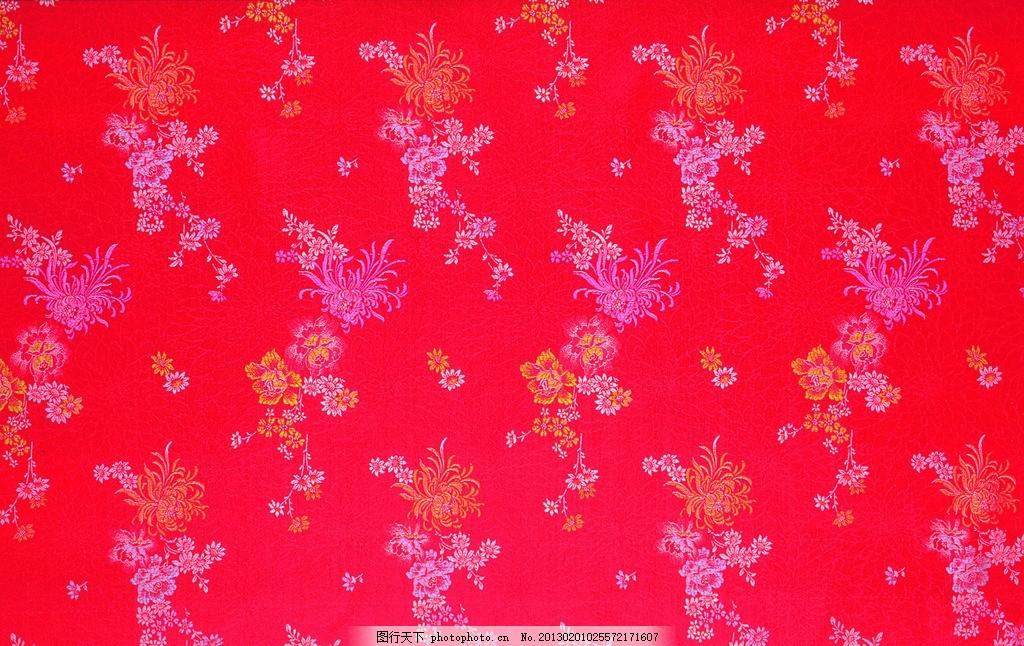 红色布 花纹刺绣 蓝色丝绸 丝绸布纹 丝绸 褶皱 吉祥布纹 绸缎 绸缎丝