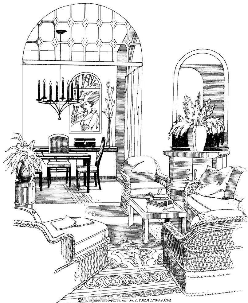 手绘客厅 家具