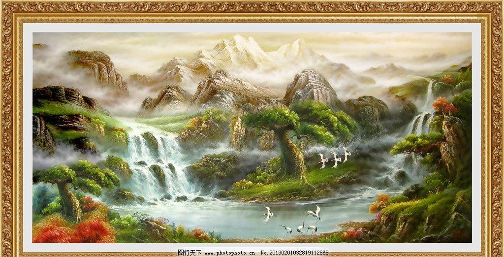 风景油画 山水油画 油画 欧式油画 油画风景 风景 鹤 仙鹤 丹顶鹤
