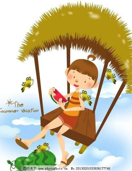 儿童插画 风景 花草 梦幻 秋天 树叶 动物 可爱 快乐 开心
