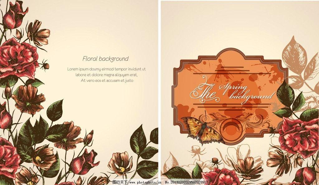 玫瑰花卉 欧式风格 花卉 背景 精美花卉 玫瑰花 展牌 矢量 样式 制作
