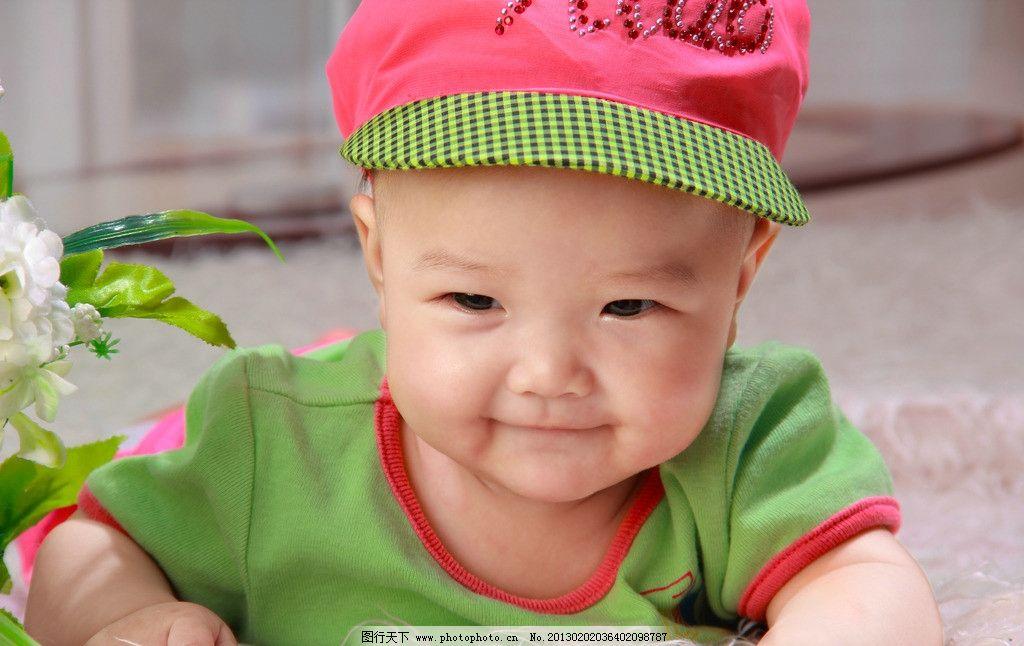 红帽子宝宝图片,儿童 天真 暖色 大眼睛 婴儿 儿童-图