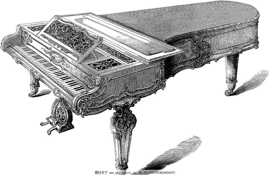 手绘古典钢琴图片