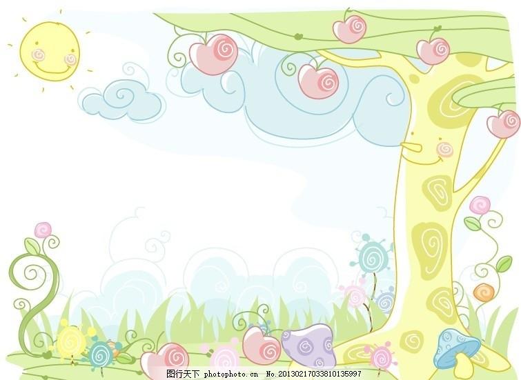线条风景插画 卡通画 贴纸插图 儿童插图 卡通素材 矢量风景 彩铅画