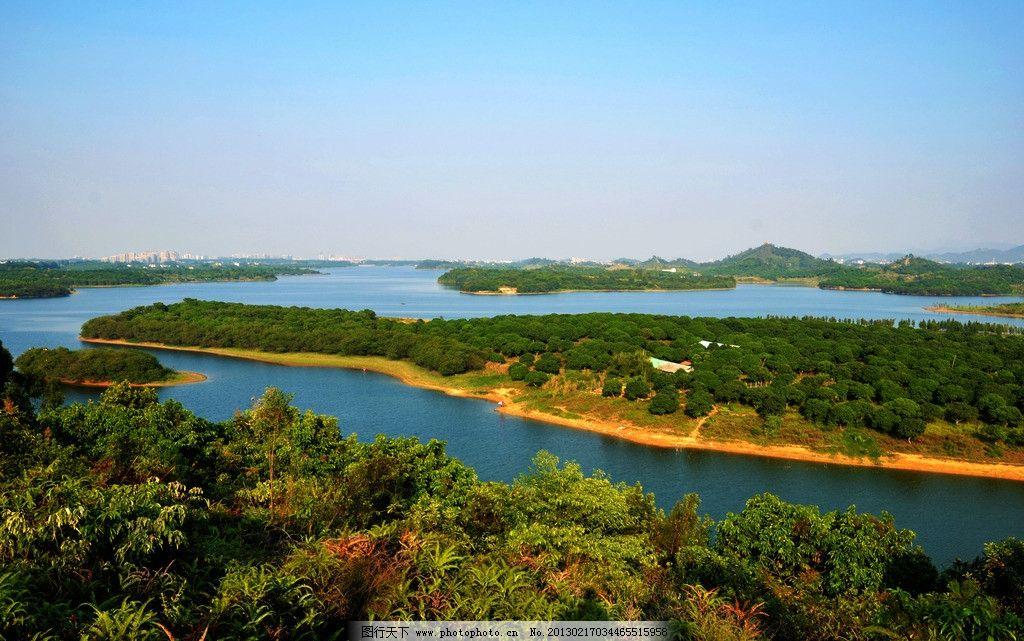 松山湖 松山湖风景 山林 树木 河水 湖泊 湖面 水流 水 天空 湖 山水