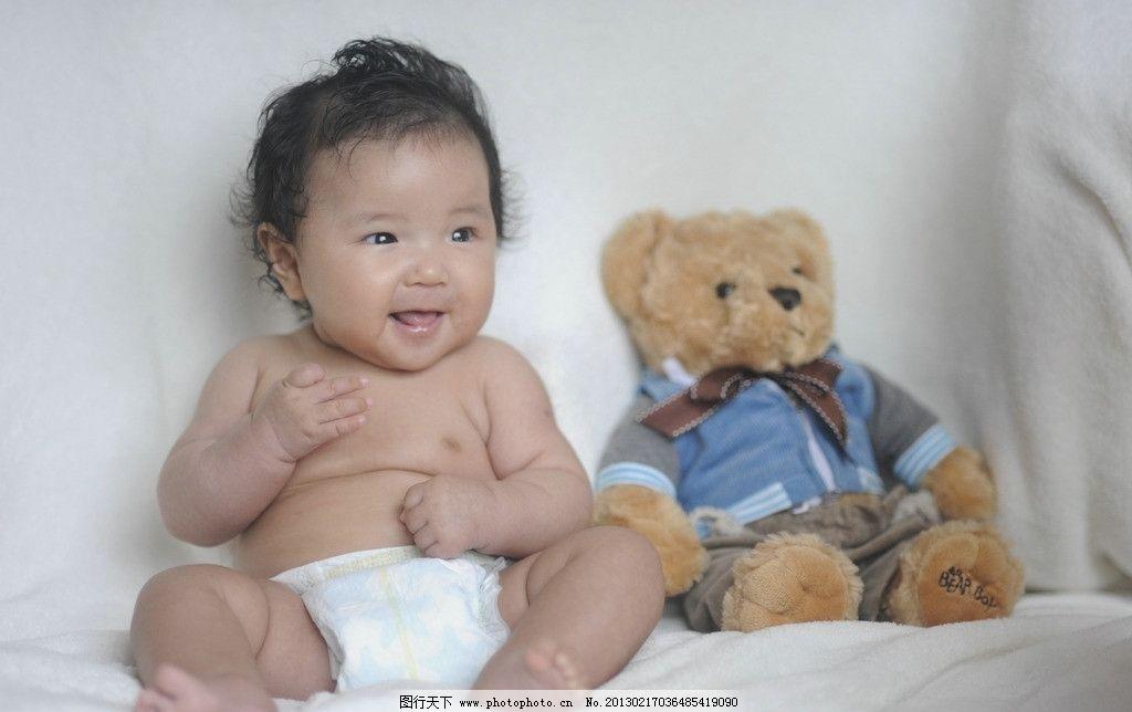 婴儿100天照 漂亮宝贝 可爱宝宝 小熊玩具 大眼睛 黑头发 尿不湿 儿