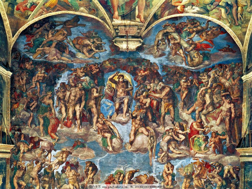米开朗基罗 末日审判 油画 人物 色彩 古典 西方 壁画 高清油画 绘画