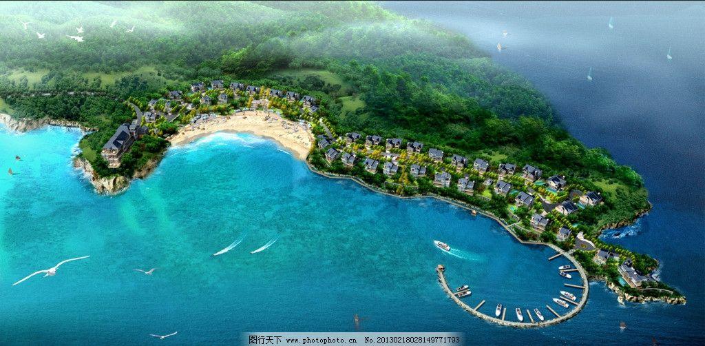 海边别墅别墅空中俯看效果图图片_景观设计_水资源环境图片