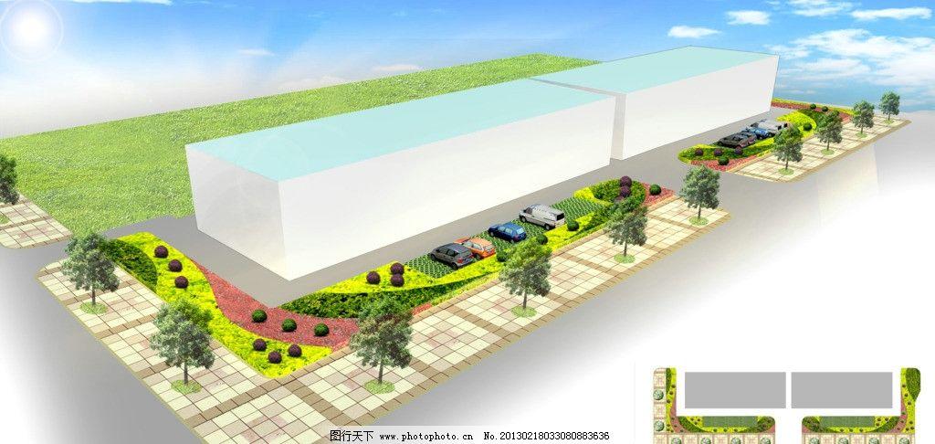 街头绿化 街头绿化鸟瞰图 植物 景观 街头绿地 园林设计 环境设计