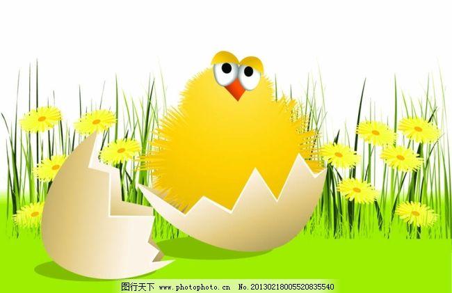 矢量卡通小鸡图片素材免费下载 蛋壳 图片素材 可爱小鸡 蛋壳 破壳