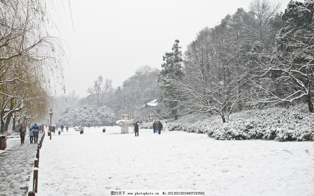 雪景 天空 森林 树木 风景区 雪地 游客 行人 雪花 雪天 下雪