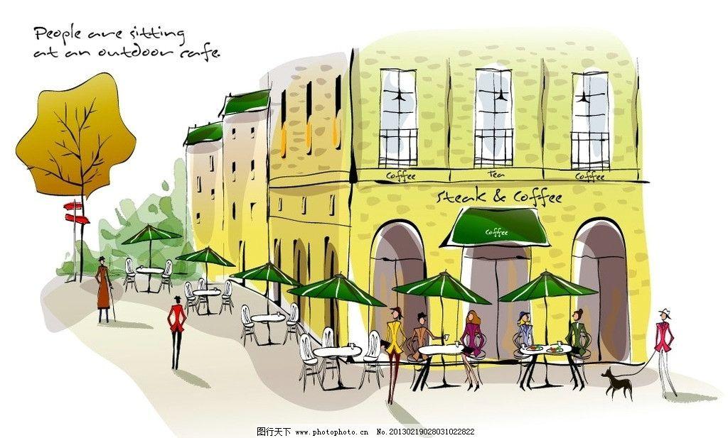建筑绘图 房屋设计家 街道 休闲 商场 超市 房子 建筑设计 屋 手绘