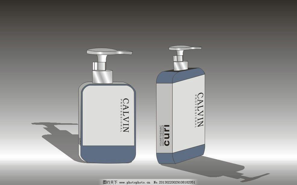 洗发水瓶子 黑白 长方体 按头 影子 立体 包装设计 广告设计