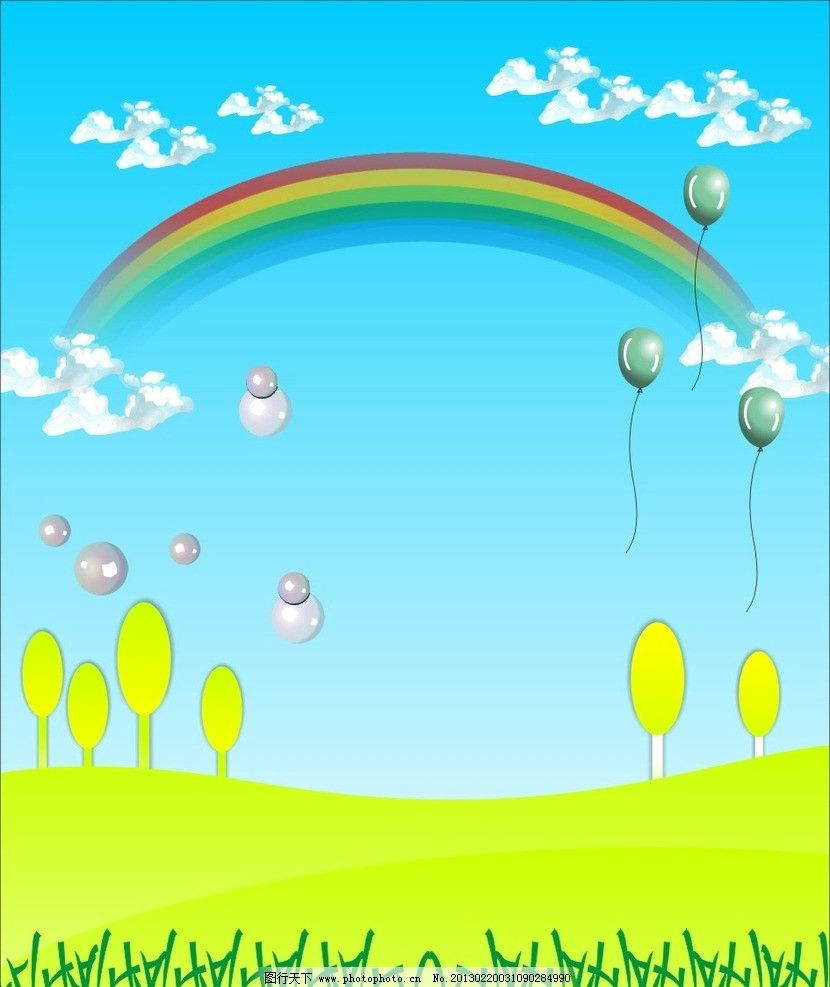 卡通背景 彩虹 蓝天 草地 其他设计 广告设计 矢量 cdr
