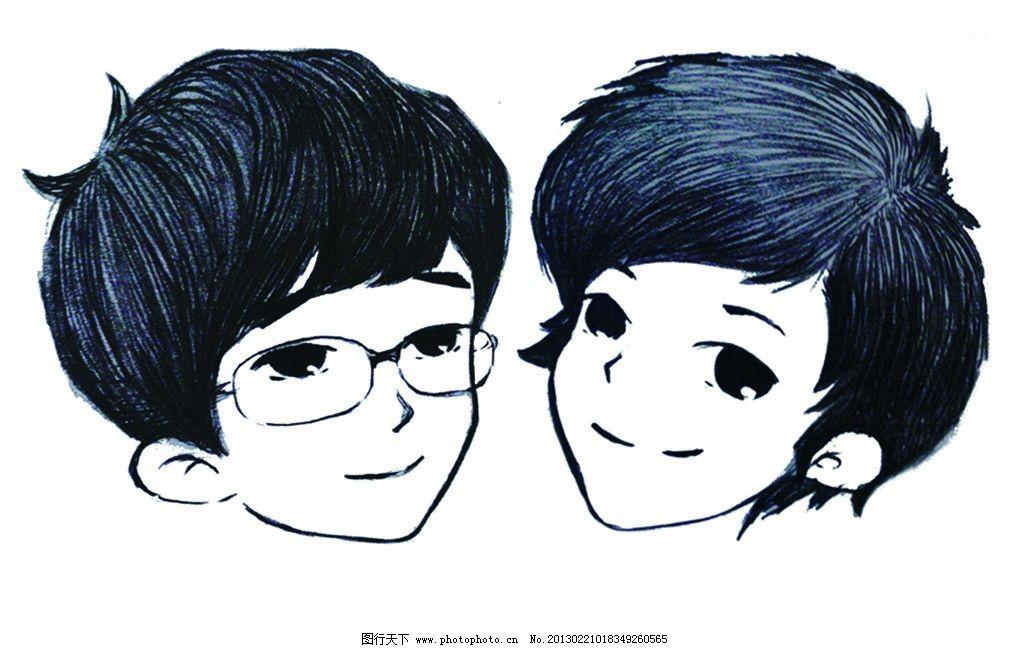 情侣头像 情侣 眼睛男 短发美女 动漫人物 动漫动画 设计 300dpi jpg图片