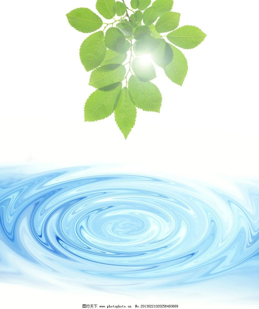 绿叶 绿树枝 动感水律 动感水纹 水滴 水韵 背景底纹 底纹边框 设计 3