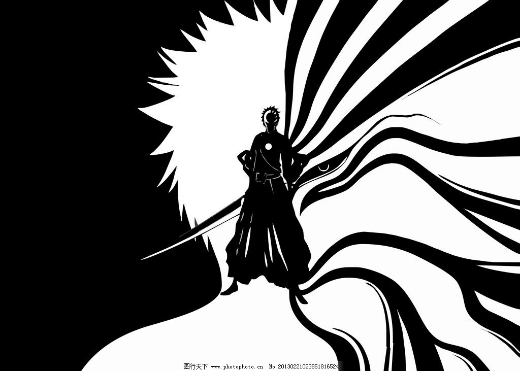 动漫人物 黑崎一护 卡通 死神 桌面壁纸 黑白 男人男性 矢量人物 矢量