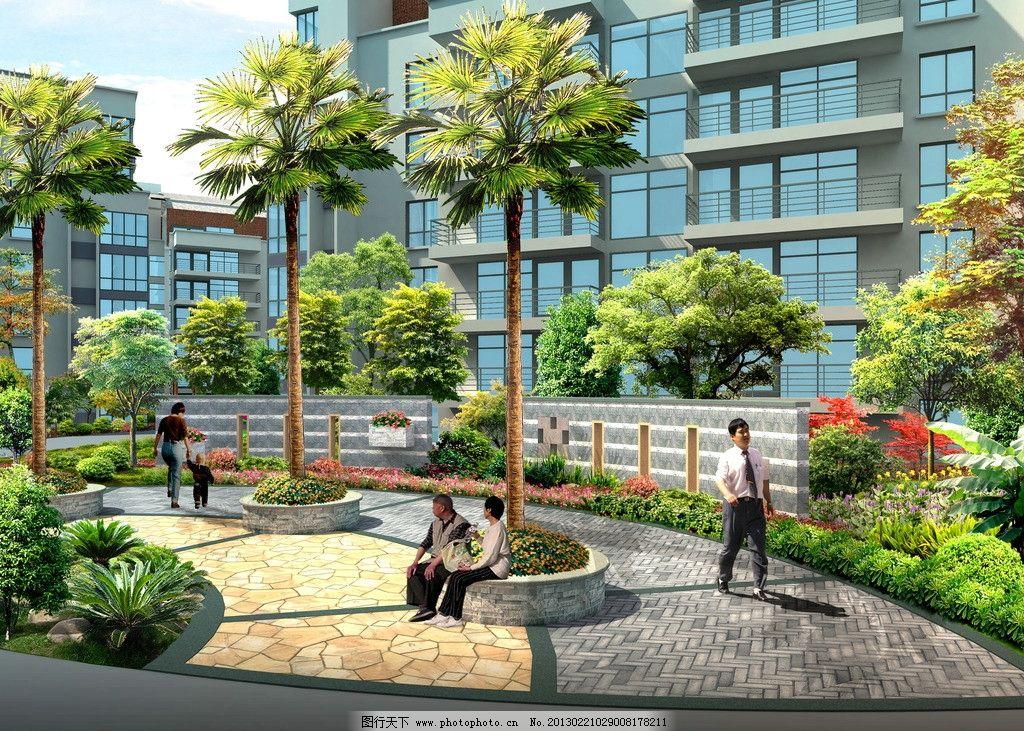 景墙效果 小区 景墙 植物 树池 其他设计 环境设计 源文件 300dpi psd